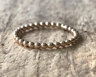 Small Beaded Gold Ring, Gold Ball Ring, Gold Fill Ring, Beaded Ring Band, Skinny Stacking Ring, Silver Band, Stackable Ring, Boho Jewelry