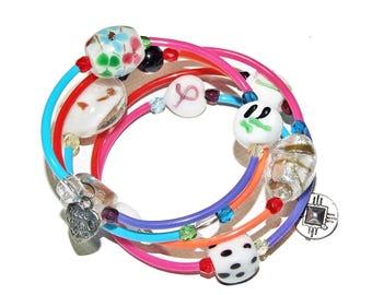 Bracelet multi-turn, glass beads, faceted Crystal and charms