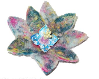 Flower brooch wool felted, multicolor and blue, with flower