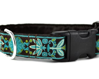 "Ready-to-Ship: Pinwheel Jacquard in Brown & Turquoise - 1"" Buckle Collar - SMALL - Nickel-Plated Hardware"