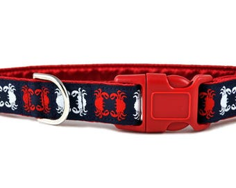 Martingale Dog Collar or Buckle Dog Collar - Chesapeake Jacquard in Red, White & Navy Blue - 1 Inch