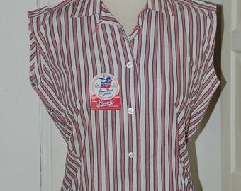ON SALE 50s Blouse, Deadstock, Stripes, Cotton, Hourglass, NWT, Sleeveless, Gabey, Top, Size M