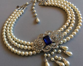 Victorian Pearl Necklace with Backdrop and Brooch in Cobalt Blue Royal Blue Rhinestone or your color in 3 strands Swarovski pearls Art Deco