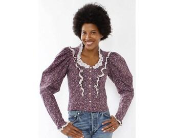 Calico Gunne Sax Blouse XS/S • 70s Blouse • Puff Sleeve Blouse • Prairie Blouse • Cotton Blouse • Purple Blouse • Ruffle Blouse | T729