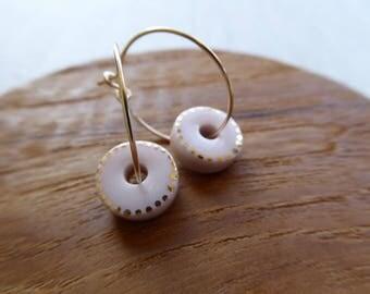 2 Tone Short Cake Hoop Earrings SALE