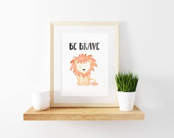 Lion Printable, Lion Nursery Art, Lion Wall Art, Lion Nursery Print, Lion Print, Lion Watercolor Print, Safari Nursery Art, Be Brave