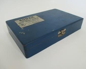 Vintage Kodak Artist Photographer Box - Blue Painted Artist Box - Studio Decor - Studio Storage