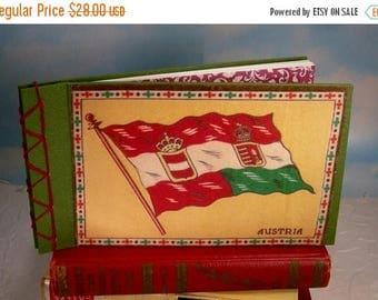 Travel Sale Austria Flag Stitched Album Journal with Vintage Cigar Flannel Cover