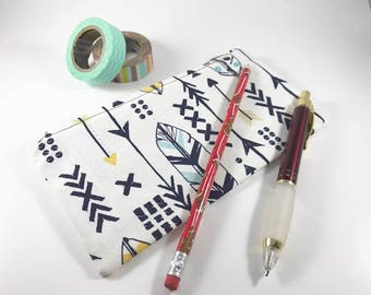 Arrows  Zippered Pouch, Pencil Case, Pencil Pouch, Journal Accessory Bag, Feathers Zippered Pouch