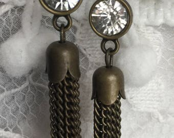 Tassels-tassel earrings-rhinestone earrings-rhinestone tassel earrings-hoop earrings-wedding jewelry