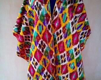 Uzbek vintage pure silk ikat fabric Han atlas 4 meters. VI037