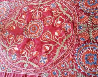 Uzbek hand embroidered silk on silk Suzani. Red silk suzani. Bed cover suzani. Table, sofa cover suzani. Wall hanging suzani