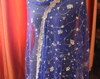 Indian vintage blue net long embroidered dupatta . Zardozi scarf. Wedding stole. Hand embroidered scarf. SCM009