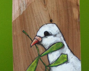 "white dove with branch ""peace"" painting original a2n2koon mixed media bird wall art on irregularly-shaped textured natural wood sculptural"