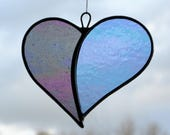 """Stained Glass ornament (Love Heart) """"When Two Hearts become One"""" translucent iridescent glass"""