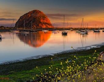 Morro Bay,Sailboat,Sailing,Ocean,Orange,Morro Rock,PCH,Highway 1,California,Travel,Home Decor,Office Decor,Oversize,Wall Art,Beach Decor