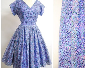 1950s Blue purple lace full skirt party dress / 50s lilac evening dress - S