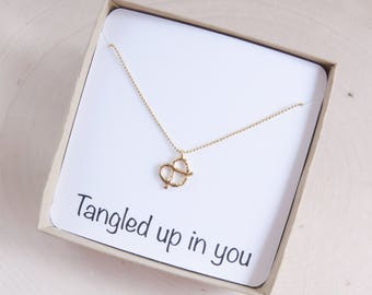 Gold Pretzel Necklace | Best Friend Necklace | Pretzel Gift | Girlfriend Gift | Friendship Necklace | Personalized Gift | Gift for Her