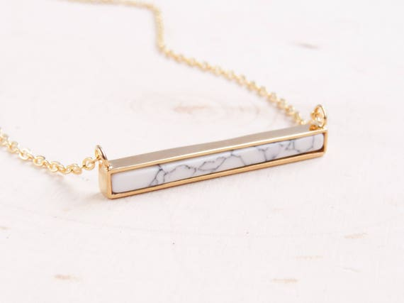 Gold Marble Bar Necklace