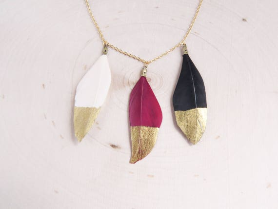 Dipped Gold Feather | Gold Dipped Feathers | Statement Necklace | Feather Necklace | Gift for Her | Best Friend Gift | Boho Necklace