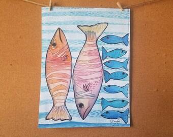 "Mexican Sea - Original drawing  9""x12""-"