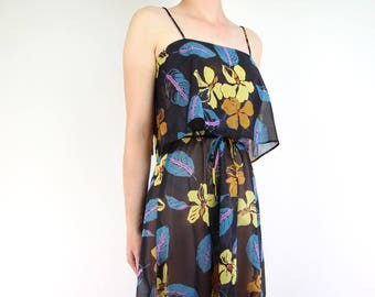 VINTAGE 1970s Sundress Black Floral Sheer Dress
