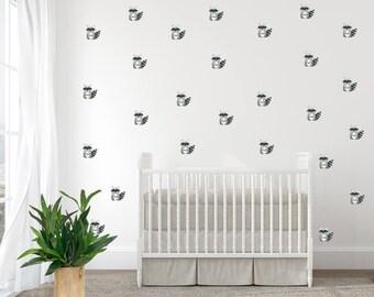 Woodland Wall Decals, Raccoon, Baby Nursery Wall Decal, Kids Wall Decal,  Modern