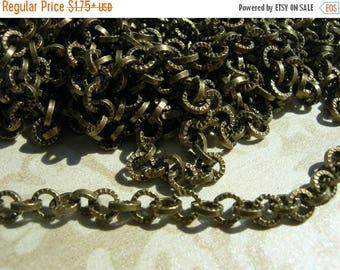SALE Vintage Style Fluted pattern repurposing chain 5mm sturdy Cable chain Antique BRASS plating Steam Punk