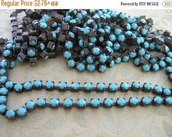 ON SALE NEW Flea Market Style Brown Patina brass Opaque Ocean Blue cup chain Czech 4.2mm  ss18