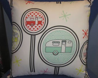 "Camping Pillow 17"" X 17"" Vintage Trailer  ""Lollipops"""