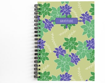 Gratitude Journal, Blank Spiral Writing Journal, Succulents Artwrok by Christina Steward, 80 Unlined Sheets, Gift Ideas for Her