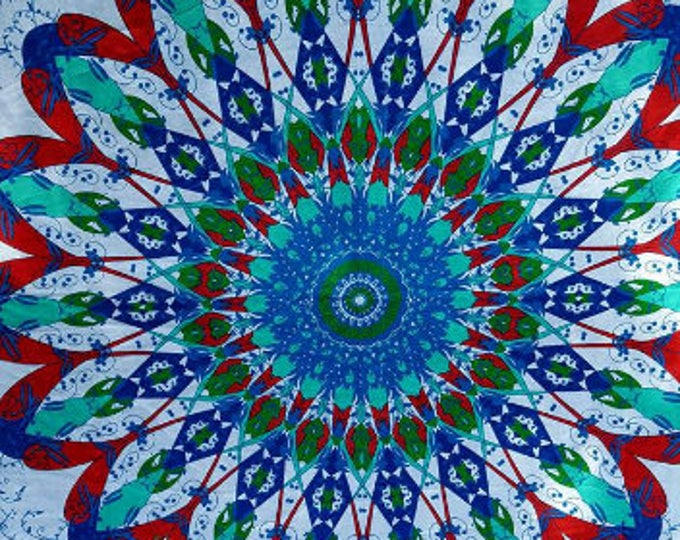 Vibrant Tribal Mandala Tapestry Boho Hippie Tapestry Wall Hanging Beach Blanket Yoga Meditation Mat Dorm Decor Music Festival