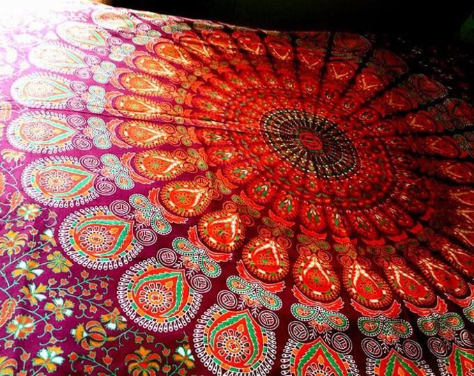 Burgundy Red and Orange Peacock Mandala Bedding Mandala Tapestry Dorm Decor Hippie Bedding Festival Gear Beach Gypsy Bedding Boho