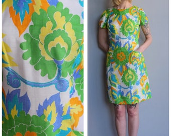 1960s Dress // Bold Silk Print Shift Dress // vintage 60s dress