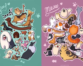 Cats and Dogs Double-Sided Prints