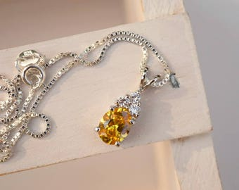 Citrine cubic zirconia CZ necklace sterling silver chain necklace yellow white gemstone necklace November birthstone gift for her wedding