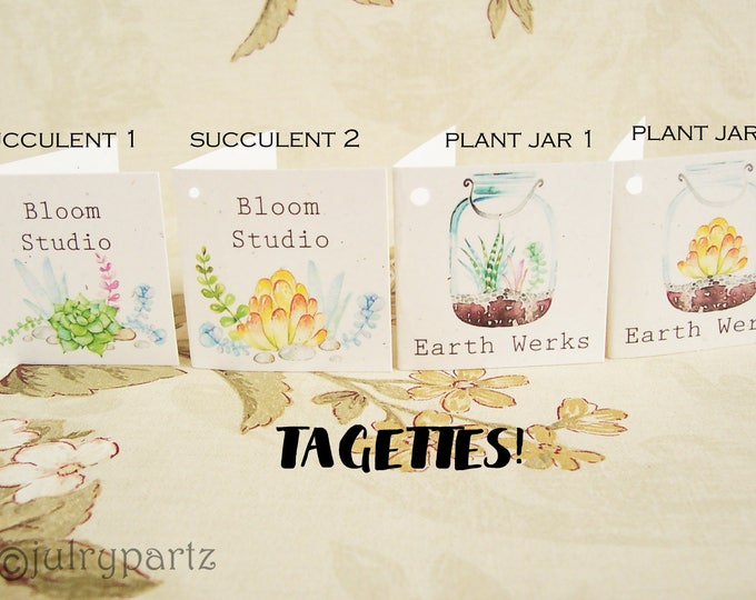 45-TAGETTES•House Plant Mix•Mini Tags•Hang tags•Gift Tags•Favor Tags•Paper Tags•Price Tags•Clothing Tags
