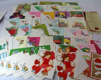 Vintage 50 assorted greeting cards ephemera paper craft Mid Century