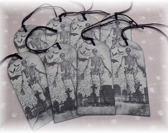 Skeletons and Script - Halloween - Grave Yard - Bats - Spooky- Gift/ Hang Tags (8)