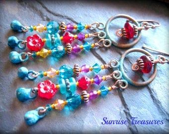 Rustic Verdigris Earrings, Green Patina Copper Earrings, Bohemian Chandelier Earrings, Colorful Earrings, Copper Jewelry