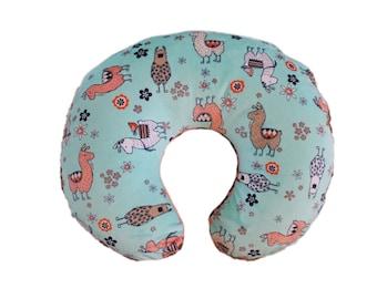 Boppy cover, nursing pillow cover, minky boppy cover, llama minky boppy cover, slipcover for boppy- Ships Today