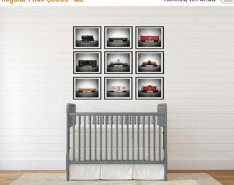 WEEKEND SALE Vintage Toy Trains set of Nine Photo Prints on Grey Background, Boys Nursery Decor, Rustic Decor Toy Trains, Baby room ideas