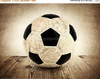 FLASH SALE til MIDNIGHT Vintage Soccer Ball on Wood Photo Print, Boys Room, Wall Decor, Wall Art,  Man Cave,Boys Nursery Ideas, Gift Ideas,