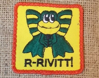 """Vintage 1980s Sew-On Patch-Green Frog-R-Rivitt!-For Jacket, Shirt or Hat-2-7/8"""" Square-FREE SHIPPING!"""