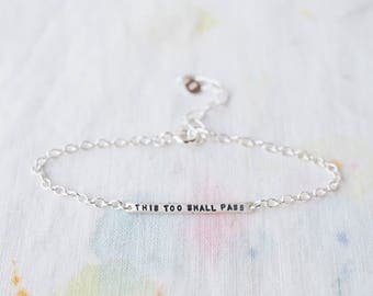 This Too Shall Pass Sterling Silver Tiny Bar Bracelet, Can Be Personalised. Custom Bracelet.