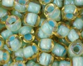 Japanese (Toho) 6/0 Seed Bead, Inside-Color Rainbow Lt. TOPAZ/SEA FOAM Lined, #952, green, yellow, Kumihimo, Beadweaving, Beading, Jewelry