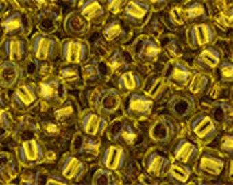 Japanese (Toho) 8/0 Seed Bead, COPPER-LINED MARIGOLD, #745, yellow, marigold, brown, copper, Kumihimo, Beadweaving, Beading, Jewelry