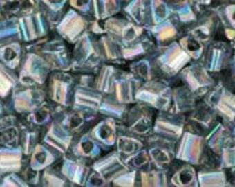 Japanese (TOHO) 11/0 Triangle Seed Bead, Transparent-Rainbow GRAY, #176B, (tg-27), gray, Kumihimo, Beadweaving, Beading, Knitting, Jewelry