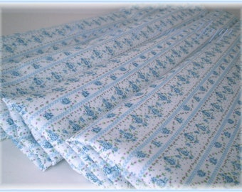 Blue roses ticking stripe cotton fabric