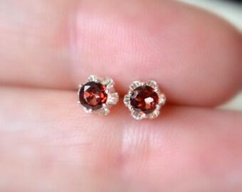 Garnet Earrings, Stud Earrings, Child or Teen, Genuine Gemstone, Flower, 4mm Stone, Sterling Silver Post, January Birthstone Jewelry